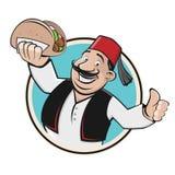 Doner symbol icon restaurant. Clipart of a happy man serving doner vector illustration