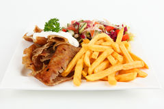 Doner. Turkish doner with french fries and salad stock photo