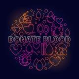 Donera den färgrika runda illustrationen för blod royaltyfri illustrationer
