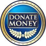 Donera för tappningrundan för pengar den blåa symbolen för etiketten Royaltyfri Illustrationer