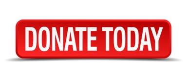 Donera i dag den röda knappen för fyrkanten 3d Fotografering för Bildbyråer