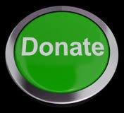 Donera knappen i grön visande välgörenhet arkivbilder