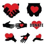 donera med händer och hjärta på den illustrationen Fotografering för Bildbyråer