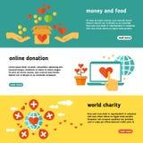 Donera och att ge donation, den sociala uppsättningen för hjälpvektorbaner, icke-vinstdrivande välgörenhet, filantropi stock illustrationer