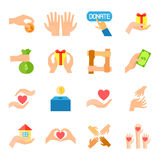 Donera och ge symbolsuppsättningen royaltyfri illustrationer