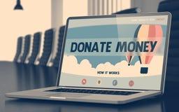 Donera pengar på bärbara datorn i mötesrum 3d Arkivfoto