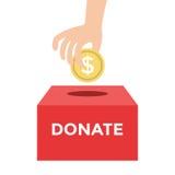 Donera pengar till välgörenhetbegreppet stock illustrationer