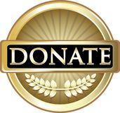 Donera symbolen för guldrundaetiketten Stock Illustrationer