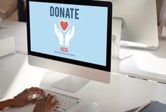 Donera välgörenhet ger erbjudande volontärbegrepp för hjälp arkivfoto