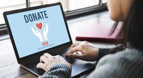 Donera välgörenhet ger erbjudande volontärbegrepp för hjälp Royaltyfri Bild
