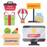Donera vektorn för service för mänsklighet för filantropi för välgörenhet för bidraget för donation för filantropi för hjälp för  Arkivfoto