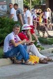 Donetsk, de Oekraïne - Juni, 11, 2012: Britse ventilators die op wachten Royalty-vrije Stock Afbeelding