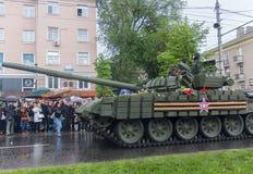 Donetsk, de Oekraïne - Mei, 9, 2015: Militaire Parade in de Volksrepubliek van Donetsk stock afbeeldingen