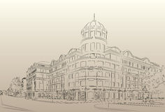 Donetsk Donbass Palace hotel drawing. Palace Hotel drawing city urban landscape Stock Images