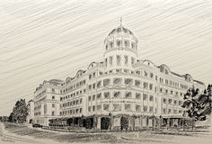 Donetsk Donbass Palace hotel drawing pencil. Drawn by hand on a graphics tablet Royalty Free Stock Photography