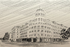 Donetsk Donbass Palace hotel drawing pencil Royalty Free Stock Image