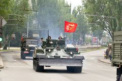 Donetsk, Donetsk People`s Republic, Ukraine – May 9, 2019: Column of soviet military technics driving through the main street o stock photo