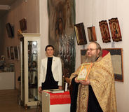 DONETSK - 16. FEBRUAR: Eröffnung der Ausstellung Stockfoto