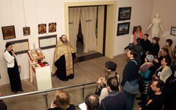 DONETSK - 16. FEBRUAR: Eröffnung der Ausstellung Lizenzfreies Stockbild