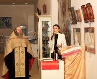DONETSK - FEBRUARI 16: Het openen van de tentoonstelling Stock Foto
