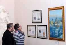 DONETSK - FEBRUARI 16: Het openen van de tentoonstelling Stock Afbeelding