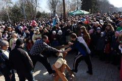 DONETSK - FEBRUARY 22: Celebrating Russian Maslenitsa festival i Royalty Free Stock Image