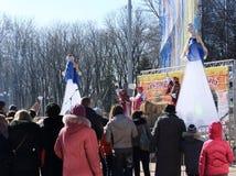 DONETSK - FEBRUARY 22: Celebrating Russian Maslenitsa festival i Stock Photography