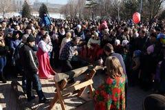 DONETSK - FEBRUARY 22: Celebrating Russian Maslenitsa festival i Stock Photos