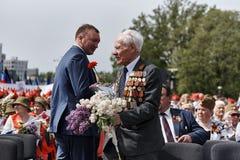 donetsk L'Ukraine - 9 mai 2018 Défilé en l'honneur de victoire dans la deuxième guerre mondiale photo stock