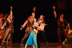 DONETSK - MAART 17: Het ballet van le Corsaire Stock Afbeeldingen