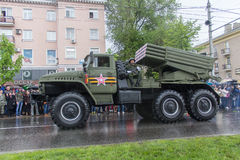 Donetsk - May 9, 2015: Military equipment Donetskoy People's Rep Royalty Free Stock Photo