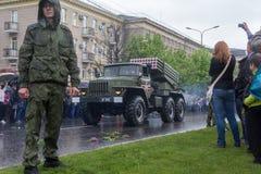 Donetsk - Mei, 9, 2015: Militaire parade in Donetsk Royalty-vrije Stock Foto