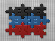 Donetsk People's Republic flag. Assembled of puzzle pieces on gray background Stock Images