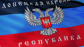 Donetsk People's Republic flag in slow motion seamlessly looped with alp. Donetsk People's Republic flag waving in slow motion against blue sky, seamlessly stock video