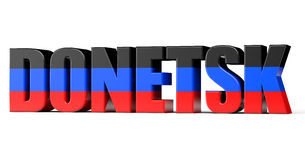 Donetsk Sign with a Flag of Donetsk People's Republic Stock Images