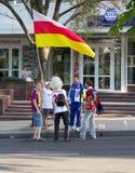 Donetsk, Ucrânia - 11 de junho de 2012: Fan de futebol do russo Fotografia de Stock Royalty Free