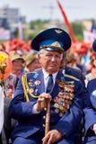 donetsk Ucrania - 9 de mayo de 2018 Desfile en honor de la victoria en la Segunda Guerra Mundial imagen de archivo libre de regalías