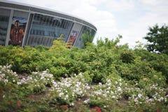 DONETSK, UCRANIA - 21 DE SEPTIEMBRE: estadio del Donbass-Arena-fútbol Fotografía de archivo