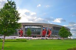 Donetsk Ukraina 2014 Donbas arenafotboll Royaltyfri Bild