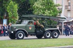 Donetsk Ukraina, Maj, - 09, 2017: BM-13 pojazd bojowy na paradzie Obrazy Stock