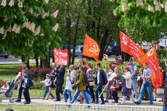 donetsk Ukraina, Maj - 9, 2018 Parada na cześć zwycięstwo w drugiej wojnie światowa fotografia royalty free
