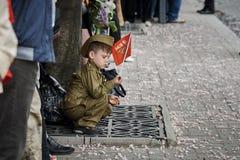 donetsk Ukraina - Maj 9, 2018 Ståta i heder av segern i världskrig II arkivfoton