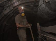 Donetsk Ukraina - mars, 14, 2014: Den funktionsdugliga undergrounen för gruvarbetare Royaltyfria Foton