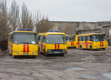 Donetsk, Ukraine - April, 11, 2014: Buses rescuers at the mine n Stock Photos
