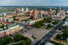 DONETSK, UKRAINE - Aug 2, 2013: panoramic view of Donetsk central Lenin square from above Stock Photography