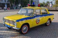 Donetsk, Ukraine - August 27, 2017: Soviet police car during an exhibition in the central square of the city at the celebration of. The city`s day stock photos