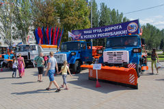 Donetsk, Ukraine - August 27, 2017 - Townspeople visiting an exhibition of communal equipment Stock Photo