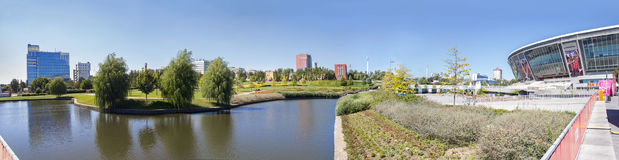 Donetsk, Ukraine - August 22, 2015: View of the park near the stadium Donbass Arena Stock Images