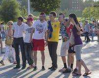 Donetsk, Ukraine - 11 juin 2012 : Fans de différents pays Photographie stock
