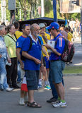 Donetsk, Ukraine - June, 11, 2012: French football fans at the E Stock Image